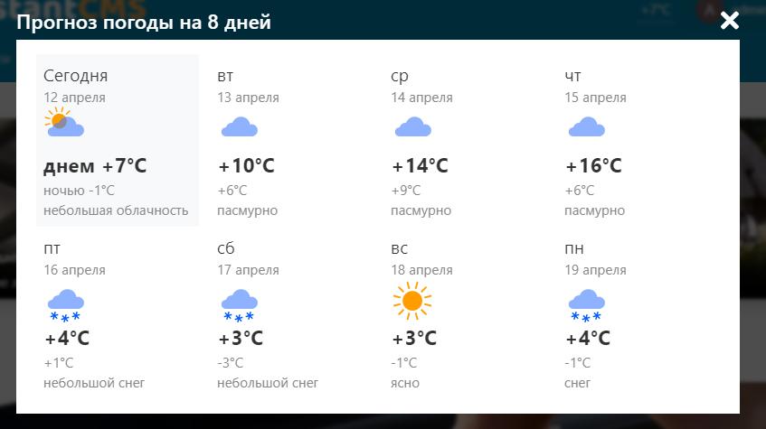 Погода 8 дней